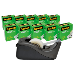 """Scotch® Magic™ Invisible Tape 810 With C-60 Dispenser, 3/4"""" x 1,000"""", Pack Of 10 Rolls"""