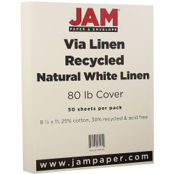 """JAM Paper® Cover Card Stock, 8 1/2"""" x 11"""", 80 Lb, 30% Recycled, Strathmore Natural White Linen, Pack Of 50 Sheets"""