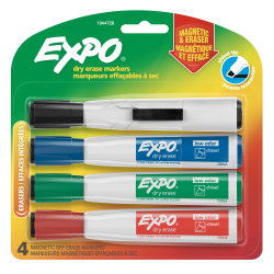 EXPO® Magnetic Dry Erase Markers With Eraser, Chisel Tip, Assorted Ink Colors, Pack Of 4