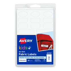 Avery® No-Iron Clothing Labels, 40700, White, Pack Of 45
