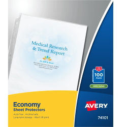 """Avery® Economy Weight Sheet Protectors, 8 1/2"""" x 11"""", Top Loading, Semi-Clear, Pack Of 100"""