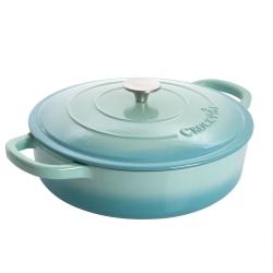 Crock-Pot Artisan 2-Piece Enameled Cast Iron Braiser Pan, 5 Quart, Aqua Blue