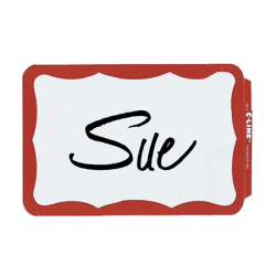 Maco® Name Badges, Red Border, Pack Of 100