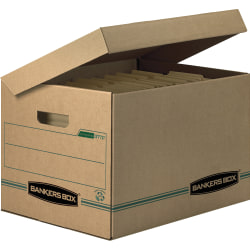 "Bankers Box® Systematic™ Standard-Duty Storage Boxes With Attached Lids And Built-In Handles, Letter/Legal Size, 10"" x 12"" x 15"", 100% Recycled, Kraft/Green, Case Of 12"
