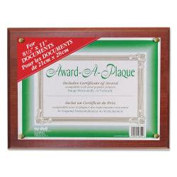 "NuDell Woodgrain Award-A-Plaque - 13"" x 10.50"" Frame Size - Holds 11"" x 8.50"" Insert - Wall Mountable - Horizontal, Vertical - 1 Each - Acrylic - Mahogany"