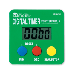 """Learning Resources Digital Timer Countdown/Up, 2 3/4"""" x 2/3/4"""", Assorted Colors, Pack Of 2"""