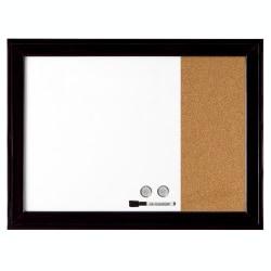 "Quartet® Combination Cork/Dry-Erase/Bulletin Board, Cork/Steel, 17"" x 23"", Natural/White Board, Black Wood Frame"