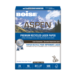 """Boise® ASPEN® Laser Paper, 3-Hole Punch, Letter Size (8 1/2"""" x 11""""), 96 (U.S.) Brightness, 24 Lb, 30% Recycled, FSC® Certified, White, Ream Of 500 Sheets"""