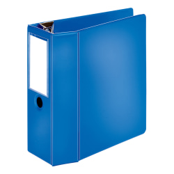"Office Depot® Brand Heavy-Duty Label Holder Reference 3-Ring Binder, 5"" D-Rings, Blue"