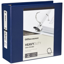 "Office Depot® Brand Heavy-Duty View 3-Ring Binder, 4"" D-Rings, 49% Recycled, Navy"