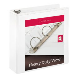 """[IN]PLACE® Heavy-Duty Nonstick View 3-Ring Binder, 3"""" Round Rings, 60% Recycled, White"""