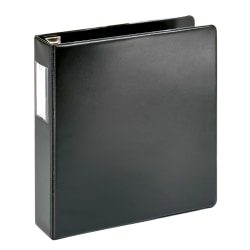 "Office Depot® Brand Heavy-Duty Label Holder Reference 3-Ring Binder, 2"" D-Rings, Black"