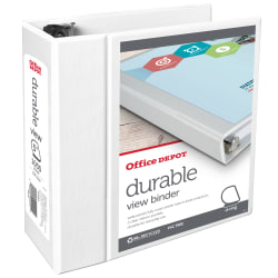 "Office Depot® Brand Durable View D-Ring Binder, 5"" Rings, 39% Recycled, White"