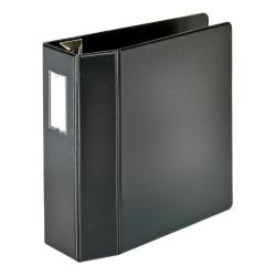 "Office Depot® Brand Heavy-Duty Label Holder Reference 3-Ring Binder, 4"" D-Rings, Black"