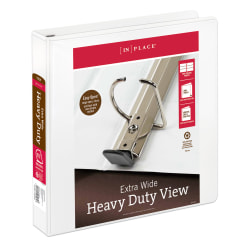 """[IN]PLACE® Extra-Wide View Binders, 1 1/2"""" Rings, 100% Recycled, White"""