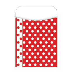 """Barker Creek Peel & Stick Library Pockets, 3 1/2"""" x 5 1/8"""", Red And White Dots, Pack Of 30"""