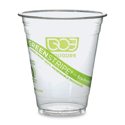 Eco-Products® GreenStripe® PLA Compostable Cold Cups, 12 Oz, Carton Of 500