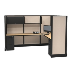 Cube Solutions Commercial-Grade Full-Height L-Shaped Supervisor Cubicle, Single Cubicle