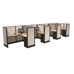 Cube Solutions Commercial-Grade Mid-Height L-Shaped Space-Saver Cubicle, Includes Integrated Power, Line of 4