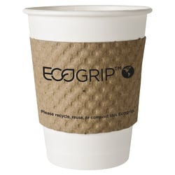 EcoGrip Cup Sleeves For 20-Oz Hot Cups, 100% Recycled, Kraft, Carton Of 1,300
