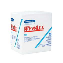 Kimberly-Clark® WYPALL X60 Quarterfold Dry Wipers, Unscented, White, 76 Wipers Per Pack, Case Of 12 Packs