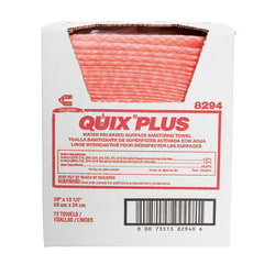 """Chix Quix Plus Cloth Disinfecting Towels, Unscented, 13 1/2"""" x 20"""", Pink, Case Of 72"""