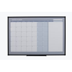 "Office Depot® Magentic Dry-Erase/Calendar/Planning Board, Steel, 36""x 48"", White Board, Black Metal Frame"