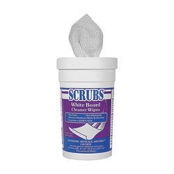 "Scrubs White Board Cleaner Wipes, 8"" x 6"", White, 120 Wipes Per Canister, Case Of 6 Canisters"