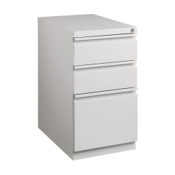 "WorkPro® 20""D Vertical 3-Drawer Mobile Pedestal File Cabinet, Metal, Light Gray"