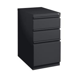 """WorkPro® 20""""D Vertical 3-Drawer Mobile Pedestal File Cabinet, Metal, Black"""