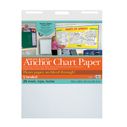 """Pacon® Heavy-Duty Anchor Chart Paper Pad, 24"""" x 32"""", Unruled, White, 25 Sheets"""