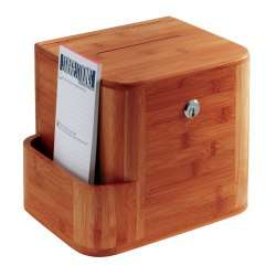 "Safco® Bamboo Suggestion Storage Box, 14"" x 10"" x 8"", Cherry"