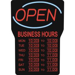 "Royal Sovereign Business Hours Open Rectangular Light-Up Sign, 16"" x 24"", Blue"