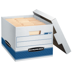 "Bankers Box® Stor/File™ Medium-Duty Storage Boxes With Locking Lift-Off Lids And Built-In Handles, Letter/Legal Size, 15"" x 12"" x 10"", 60% Recycled, White/Blue, Case Of 12"