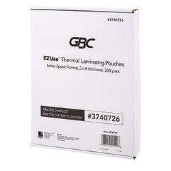 """GBC® EZUse™ Thermal Laminating Speed Pouches, 3 mils, 8 1/2"""" x 11"""", Clear, Pack Of 200, 3740726"""
