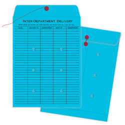 """Quality Park® Interdepartment String & Button Closure Envelopes, 10"""" x 13"""", 1-Sided Narrow Rule, Blue, Box Of 100"""