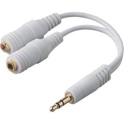 """Belkin Speaker and Headphone Splitter - Mini-phone Male, Mini-phone Female - 6"""" - White"""