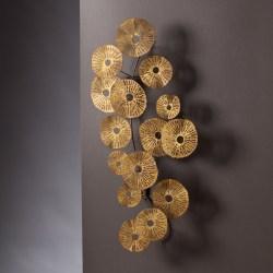 """Aura Abstract Wall Sculpture, 40 3/4""""H x 20 3/4""""W x 4""""D, Metallic Gold"""