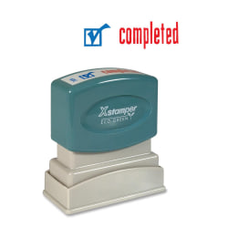"""Xstamper® Pre-Inked, Re-Inkable Two-Color Title Stamp, """"Completed"""""""