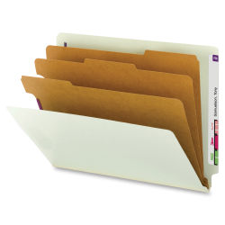 """Smead® End-Tab 3-Divider Classification Folders, 8 1/2"""" x 11"""", 3 Divider, 3 Partition, 60% Recycled, Gray/Green, Pack Of 10"""