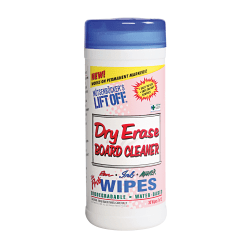 """Motsenbocker's Lift-Off Dry-Erase Cleaner Wipes, 7"""" x 12"""", Canister Of 30 Wipes"""