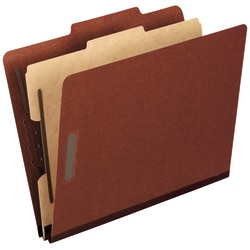 Pendaflex® Pressboard End-Tab Classification Folder, 1 Divider, Letter Size, 70% Recycled, Red, Box Of 10