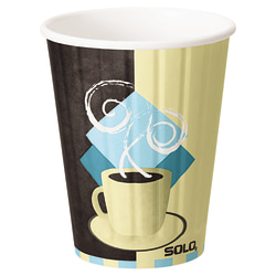 Solo® Duo Shield Insulated Paper Hot Cups, 12 Oz, Chocolate/Light Blue/Tan, Pack Of 600 Cups