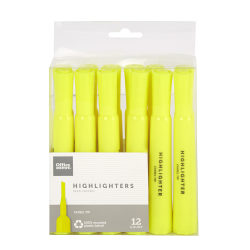 Office Depot® Brand Chisel-Tip Highlighters, 100% Recycled, Fluorescent Yellow, Pack Of 12