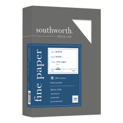 "Southworth® 100% Cotton Business Paper, 8 1/2"" x 11"", 24 Lb, 100% Recycled, White, Box Of 500"