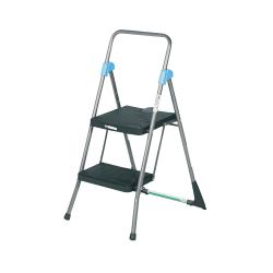 "Cosco Steel 2-Step Folding Step Stool, 300 Lb Capacity, 39 1/2"" x 22 1/2"" x 24 3/4"", Gray"
