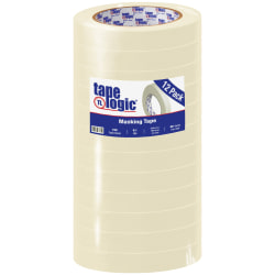 "Tape Logic® 2600 Masking Tape, 3"" Core, 0.75"" x 180', Natural, Pack Of 12"