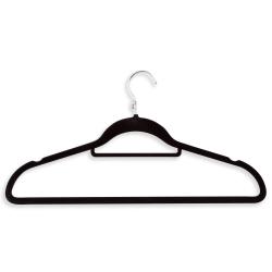 """Honey-Can-Do Hangers, Velvet Touch, Cascading Suit, 9 1/2""""H x 1/4""""W x 17 3/4""""D, Black, Pack Of 18"""
