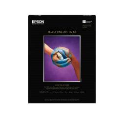 """Epson® Velvet Fine Art Paper, Letter Size (8 1/2"""" x 11""""), White, Ream Of 20 Sheets"""