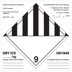 "Tape Logic® Preprinted Shipping Labels, DL1281, Shipper's Declaration Not Required, Square, 6"" x 6"", Black/White, Roll Of 500"